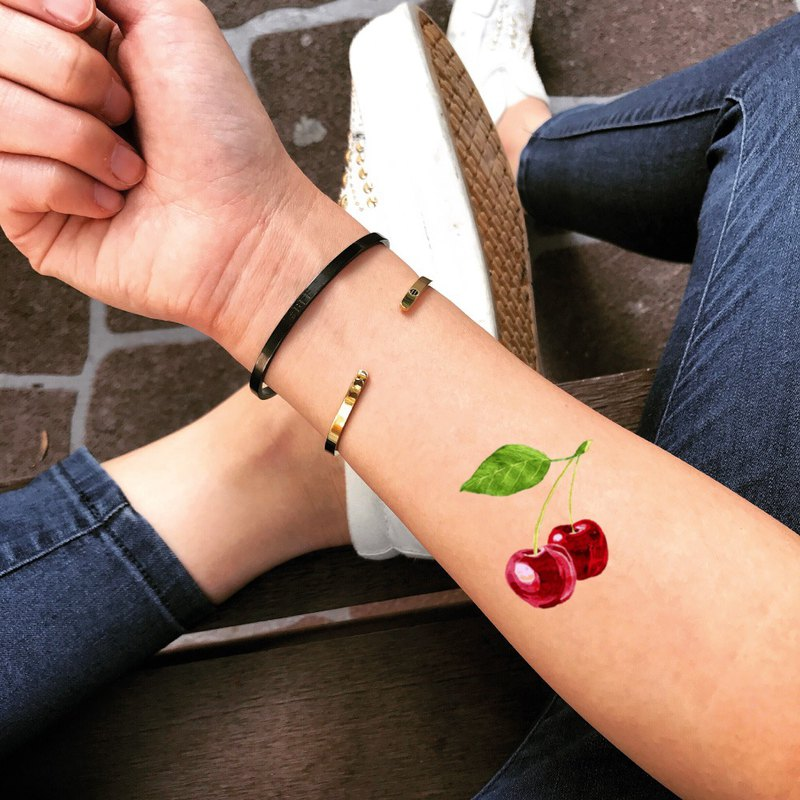 Double Cherry Temporary Fake Tattoo Sticker (Set of 2) - OhMyTat