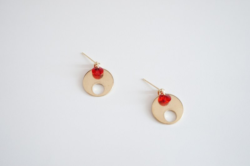 19 Jan -New Year Red Earring- 紅色新年圓形長銅耳環