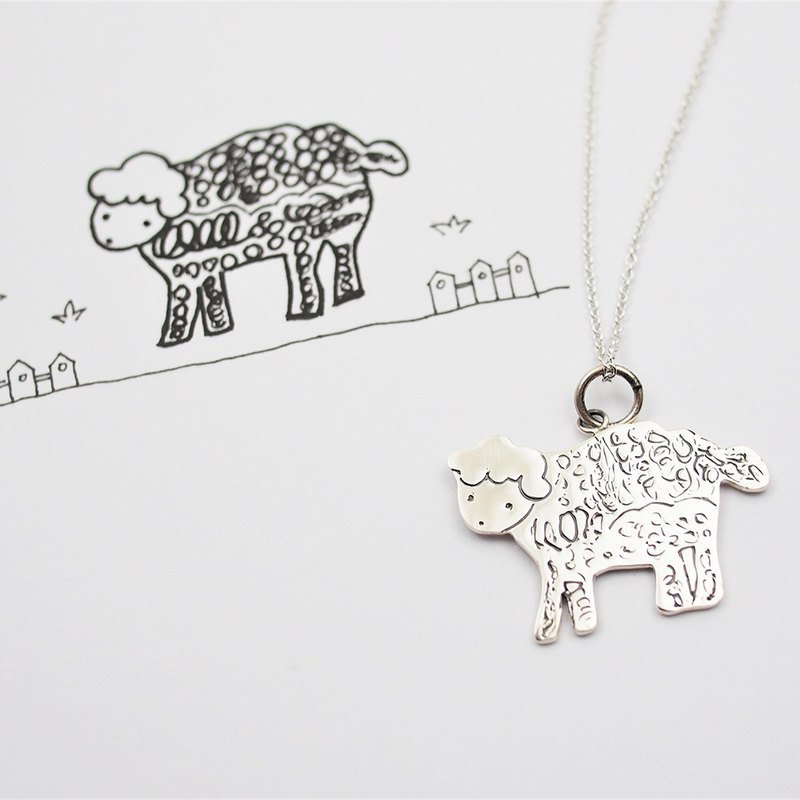Children's Art Jewelry / 925 Sterling Silver / Sheep Necklace / Advanced Custom