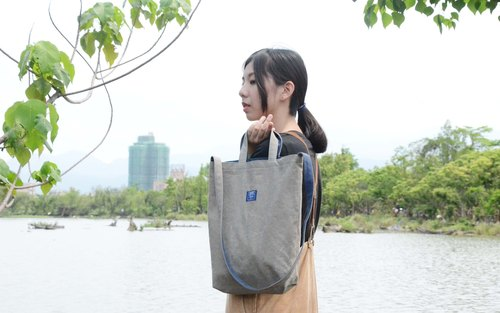 ::Bangstree:: two-colored reversible canvas bag -Olive+DarkBlue