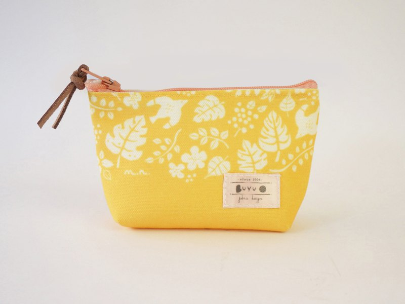 Coin purse - flying birds and leaves - yellow