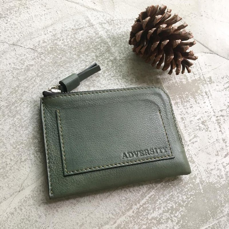 KAKU leather design leather l zipper wallet custom dark green