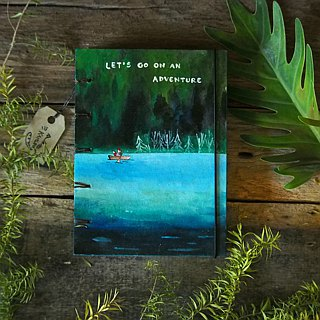Fox and peaceful lagoon.,Notebook Handmadenotebook Diary 筆記本