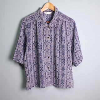 FOAK vintage blue purple retro court drawing shirt