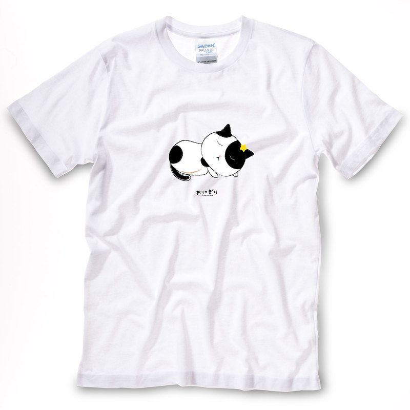 小飯糰 中性T恤 半半睡著白色短T
