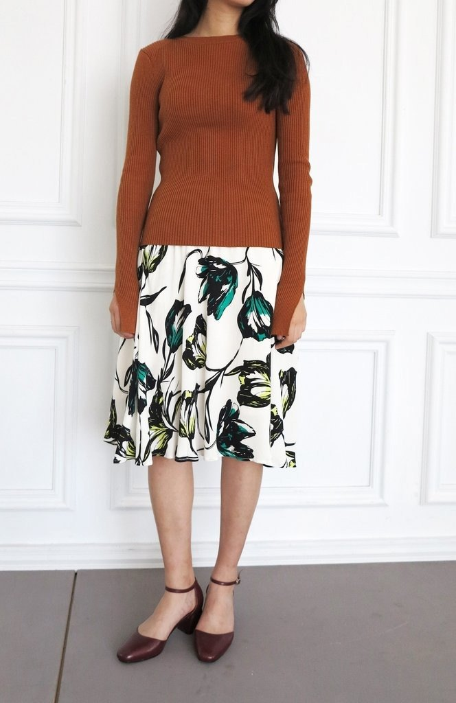 Wildflower tulip print A-line skirt