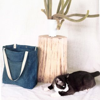 Light Navy. Stripy straps Indigo dip dyed totebag