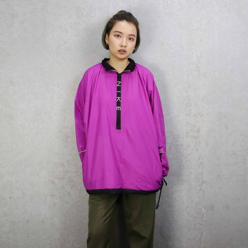Tsubasa.Y ancient house 011NIKE peach purple half pull windbreaker, pullover windbreaker outdoor