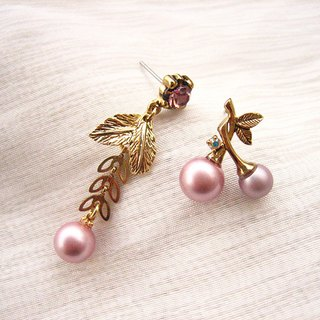 Jolie baby-Acre - Pink Purple Pearl Studded Asymmetric Fruit Earrings