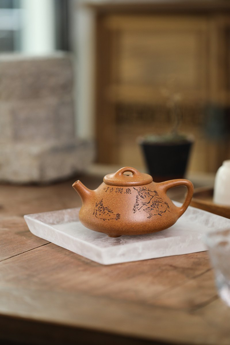 Yixing purple sand pot smelting stone scoop golden slope mud 255cc 14 holes Cao Xinquan handmade tea set
