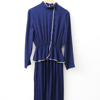 【RE1004D1457】 early autumn Japanese system retro dark blue elegant cut collar long-sleeved ancient dress