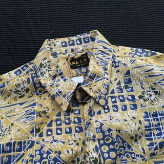 Ancient cave firms │ │ yellow sapphire blue vintage pattern short-sleeved shirt