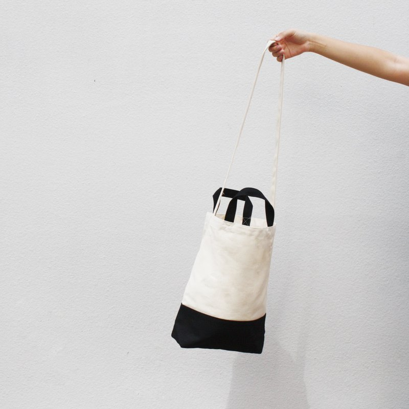 2 way canvas bag- White&Black