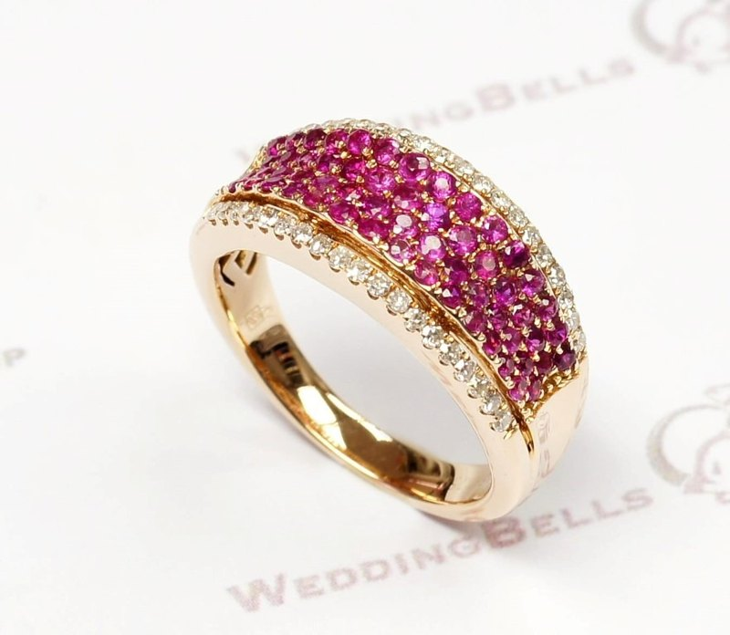 18K Rose Gold / Pink Colored Sapphire with Diamond Ring / Round stones