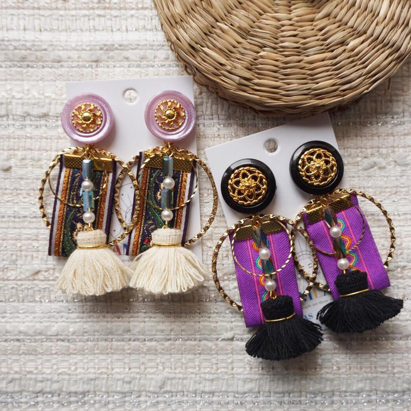 Purple ethnic ribbon Susu earrings