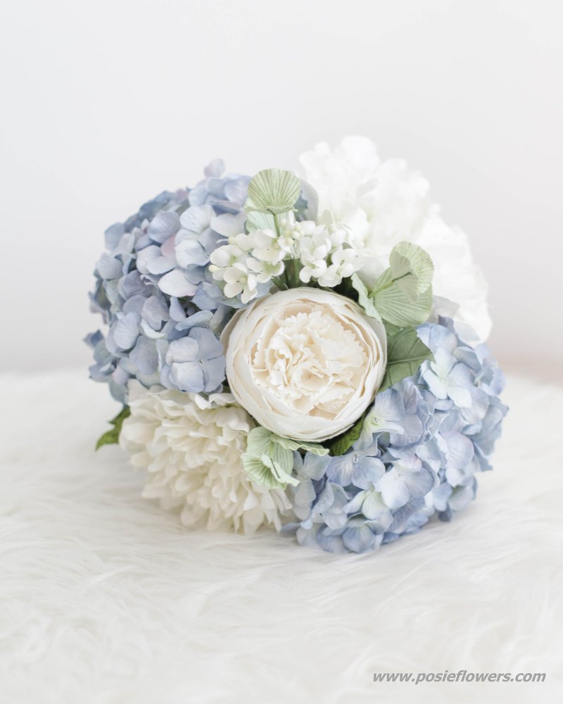 MY BABY BLUE HYDRANGEA Small Flower Bouquet Handmade Paper Flowers