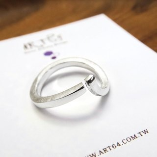 Hug Power (Large) Line 925 Silver Ring - 64DESIGN