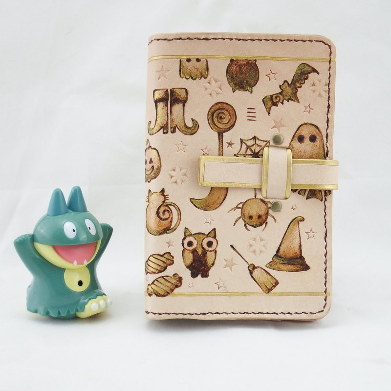 Black Cat Witch Owl Handmade Leather Notebook Pocket Book (plus gift bookmark)