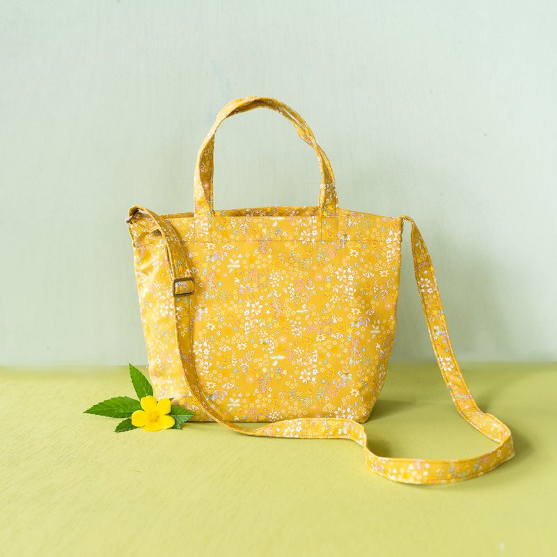 Package Day | Honey pleasure. Side back tote bag. Limited Japanese flower cloth. Portable shoulder. Dual-use bag