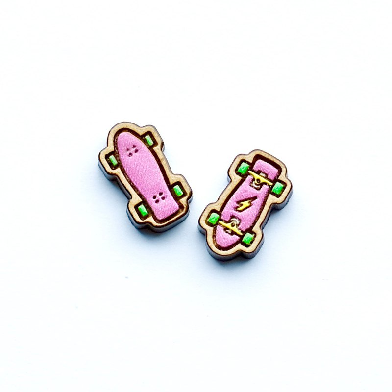 Painted wood earrings-Skateboard(pink)