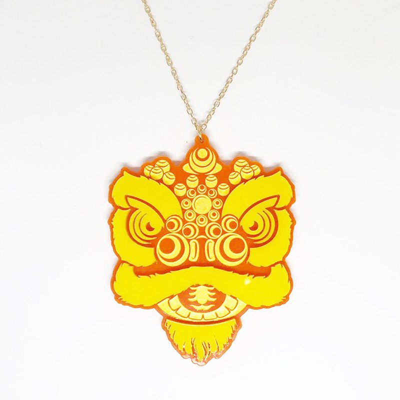 Lion's House Orange Yellow Lion Head Necklace
