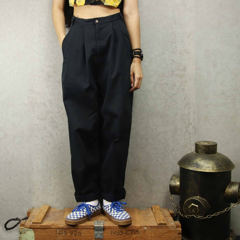 Tsubasa.Y vintage house A04 pure black vintage discount trousers, trousers discounted Chino Pants