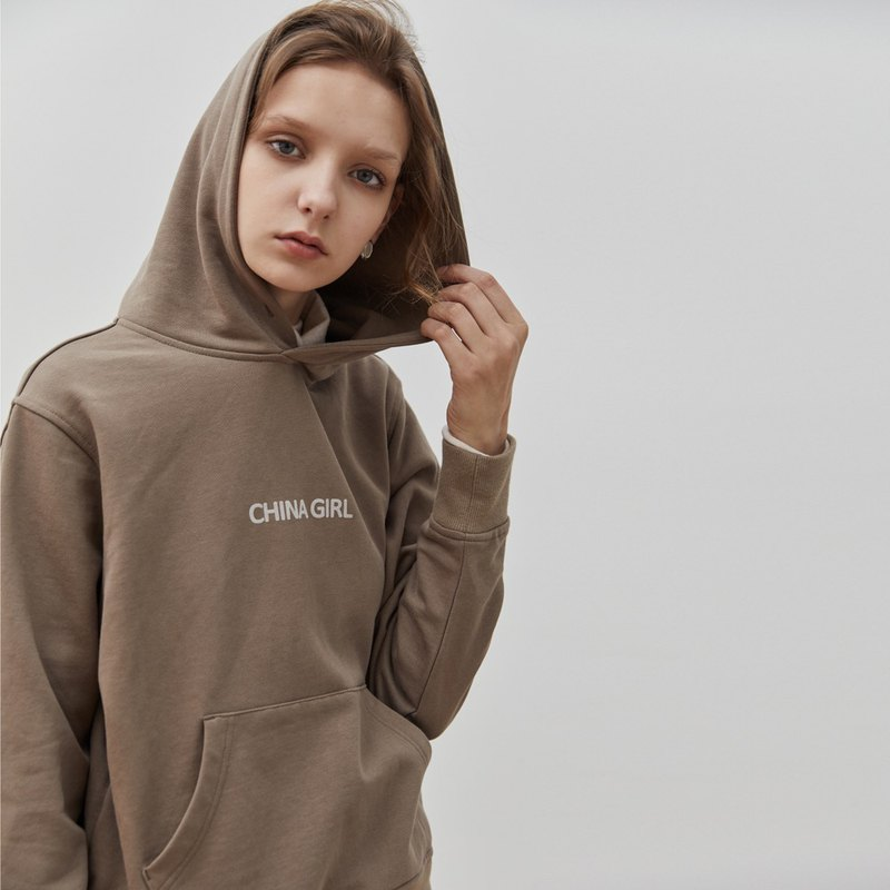 Brown CHINA GIRL autumn and winter flocking printing university T hooded hoodie sweater pocket jacket
