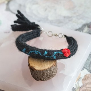 Handmade Black Color Wool Bracelet with embroidery rose