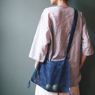 Omake hand-woven bark bag blue dyed