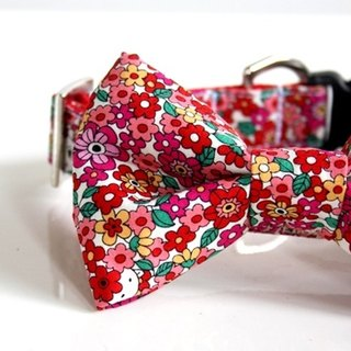 Floral Polar Bear Bow Tie Dog Collar - Small