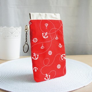 Lovely red anchor anchor phone bag, pencil case, glasses case, mobile phone case, 5.5 inch mobile phone available