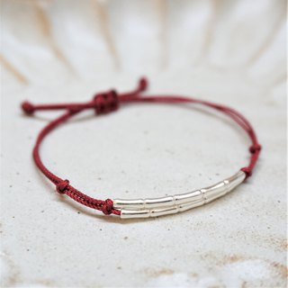 << Red line hand rope - double arc >> 925 sterling silver red rope