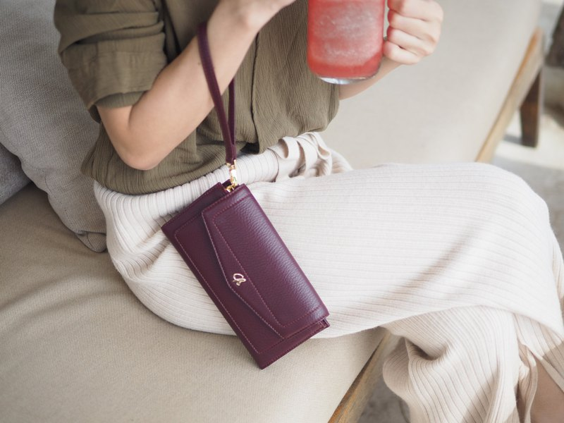 AVA (Beetroot) : long wallet, purple wallet , cow leather wallet