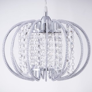 BNL00046- chrome circular transparent acrylic bead chandelier