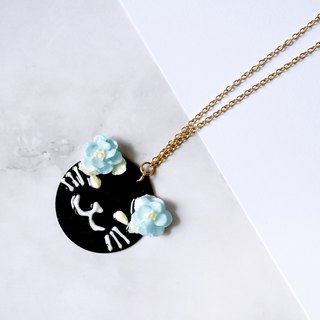 Kitty Cat Foral Necklace Black ver. =Flower Piping=