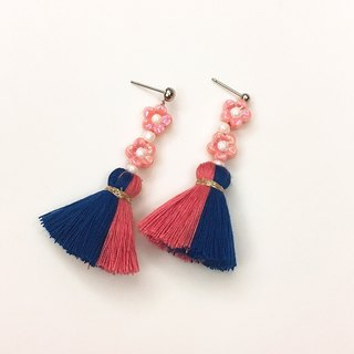 Cute little flower blossom tassel earrings