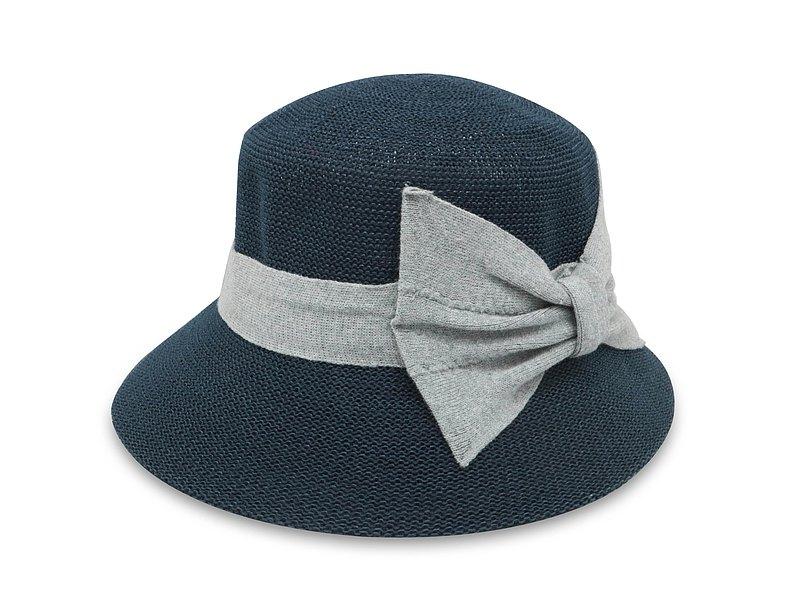 英倫蝴蝶結淑女帽(深藍) 針織帽 紙線編織 可水洗 台灣製
