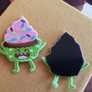 Cloth Embroidery Magnet - Happy Snack Series Rainbow Cupcake (Single)