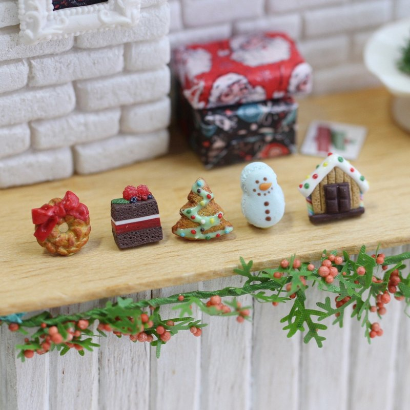 Pocket Christmas Dessert Set - Sticker Miniature Christmas Dessert Earring Set