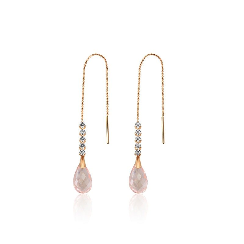 Pink Quartz Chain Diamond Earring