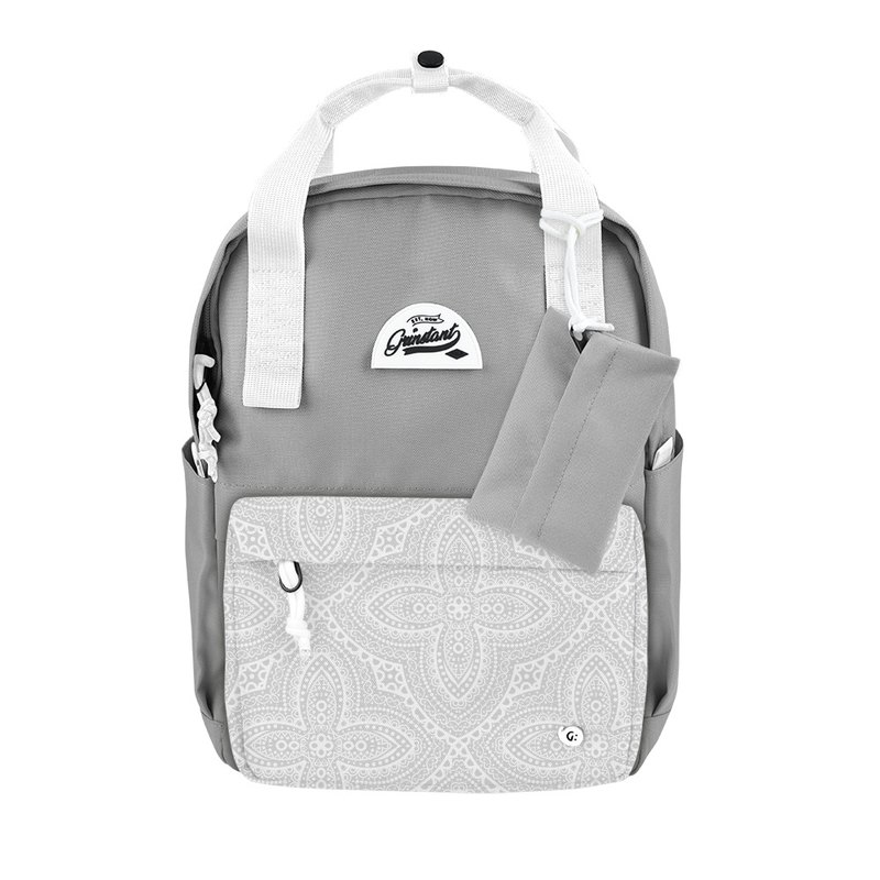 Grinstant mix and match detachable group 13 吋 backpack - Dream series (light gray with white flowers)