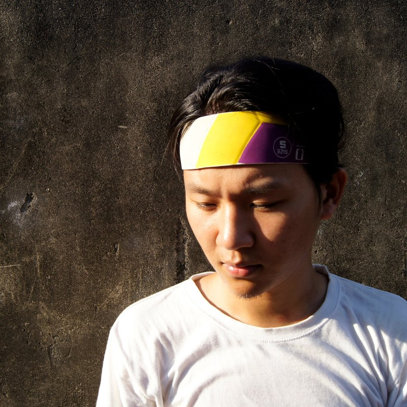 Volleyball x hair band / wide version / conti yellow purple white section number 002