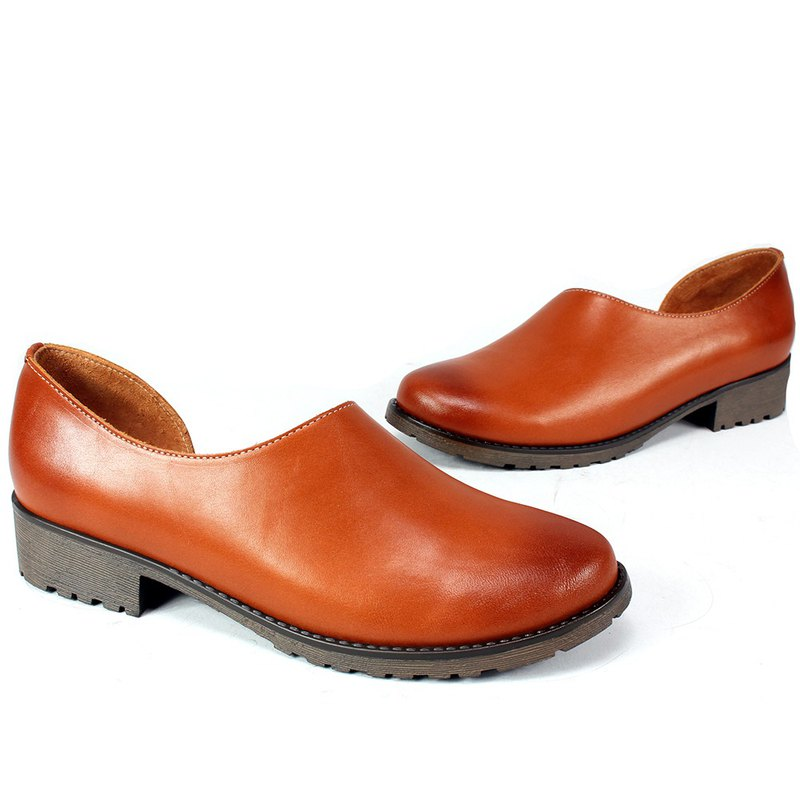 Fashion slim leather women's shoes brown