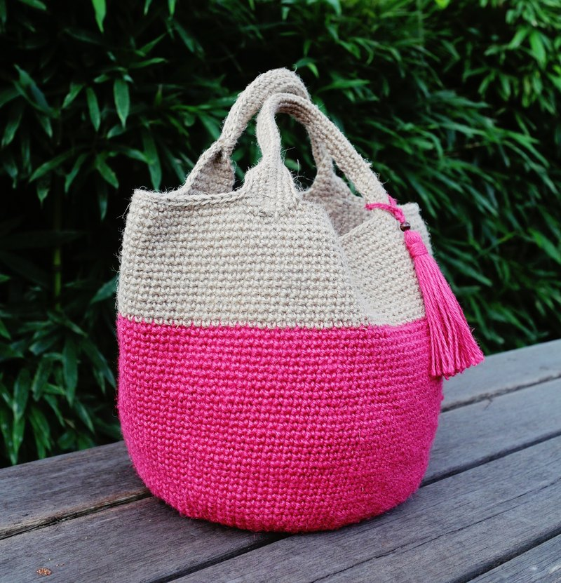 Handmade-Lady's Petite Japanese Small Hemp Bag - Warm Hand Knit Two-Color Cherry Hemp Rope Bag