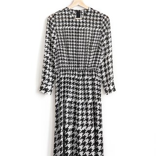 Vintage Houndstooth Vintage Long Sleeve Dress