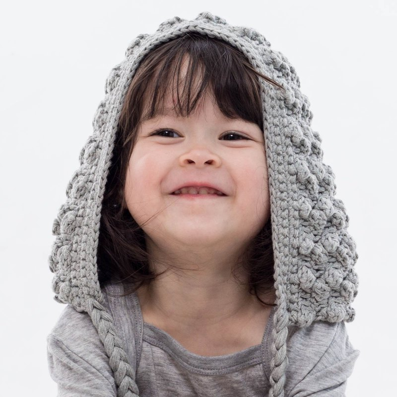 Cutie Bella Hand Knit Cap Ear Flap-Gray
