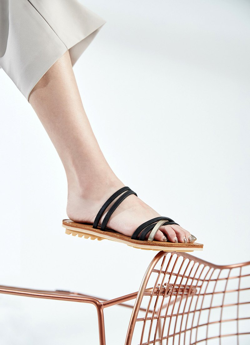 Vegetable tanned leather_Renaissance contrast color leather rope sandals_Navy