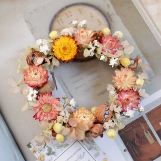 Unfinished | Orange Small Garden Dry Flower Wreath Shooting Props Wall Decorations Gifts Gifts Gifts Layout Office Small Objects Hydrangea Home Spot