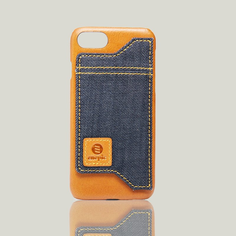 Leather Vertical Phone Back | Manzanilla • iPhone 7/8 - Camel