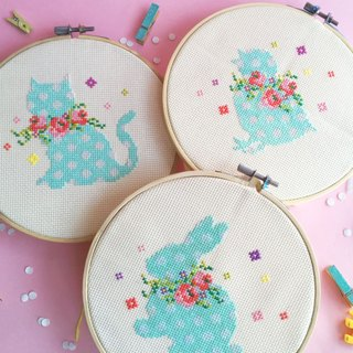Cross Stitch KIT SET - Kitten + Bunny + Chick with Floral Wreaths